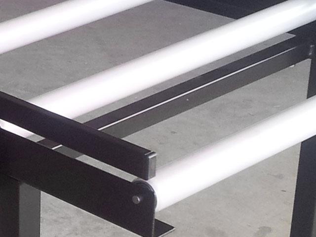 Transportador de rodillo por gravedad detalle de los rodillos